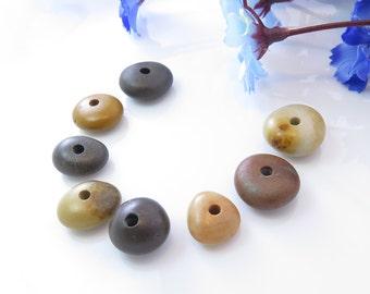 jewelry supplies, center drilled stone, drilled stone, natural stone, stone beads, stone pendant, beach stones, wedding stones