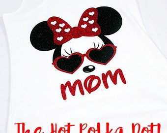 Ladies White Racerback Tank Top Personalized Minnie Mouse Heart Glasses with NAME or MOM -  Disney Family Shirts - Disney Mom