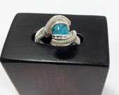 Hand Crafted Turquoise Wire Wrapped Ring || Turquoise Ring || Size:5 Tuquoise Ring || Artisan Ring || Artisan Jewelry