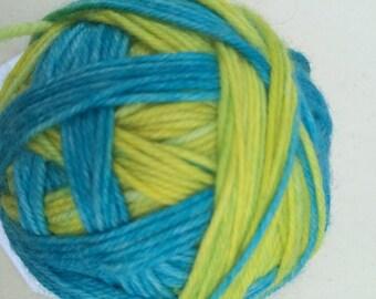 Aqua and Yellow Self Striping Sock Yarn Superwash Merino Sport Weight