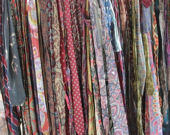 Silk Neck Ties for Quilting Crafting Rugweaving - Over 6 Pounds Neckties Insides Removed, 100s of Neckties