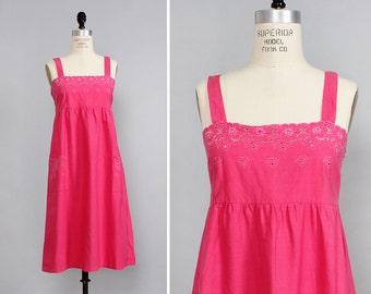 Pink Eyelet Dress S • Embroidered Dress with Pockets • Cotton Summer Dress • Floral Sundress • Cotton Sundress • Hot Pink Smock Dress | D854