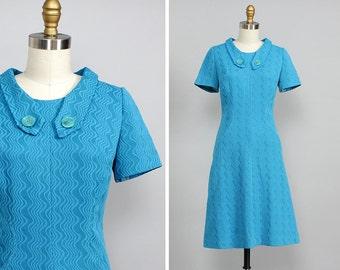 60s Mod Mini Dress XS • Fit and Flare Dress • Aquamarine Dress • Knit Dress • Blue Dress • Vintage Mini Dress • Short Sleeve Dress  | D647