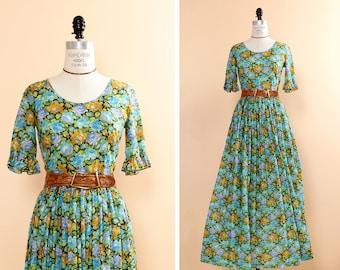 Long Flowy Dress S • Floral Maxi Dress • Prairie Dress Small • Ruffle Dress • 60s Floral Dress • Scoop Neck Dress | D231