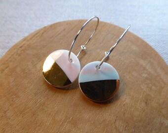Half Moon Round Hoop Earrings with Marble Clays