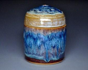 Blue Pottery Jar Ceramic Jar Stoneware Jar A