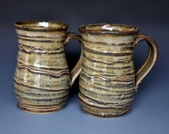 Pair of Large Ceramic Tumblers Pottery Cups Beer Steins