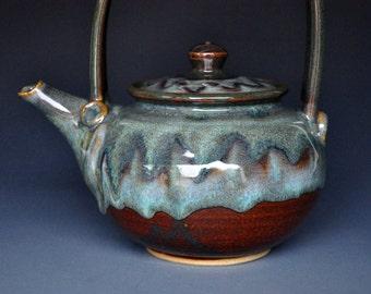 Handmade Pottery Teapot Ceramic Green River Teapot Stoneware B