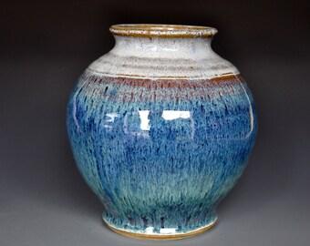 Blue Ceramic Pottery Vase Stoneware Vase Flower Vase Hand Thrown Vase Blue Flower Vase A