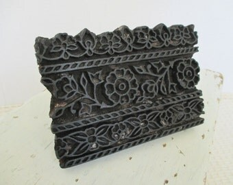Vintage Wooden Textile Stamp Block - Paper Fabric Wallpaper - Flower Design