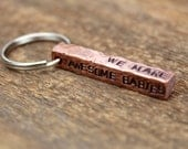 Copper Four Sided Keychain - Smooth or Distressed - Customized By Rawkette