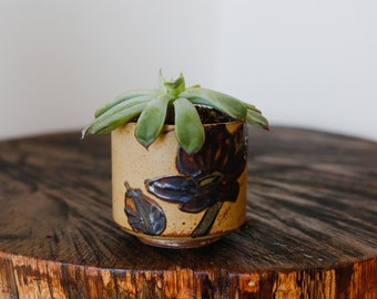 Cute Tan and Brown Small Cup with Textured Flowers Planter Tea Cup