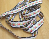 2 yds Black White Salmon Yellow NEW Jacquard Embroidered Ribbon Trim Pristine