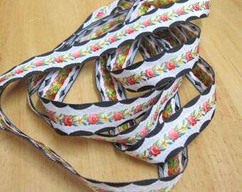 2 yds Black White Salmon Yellow NEW Jacquard Embroidered Ribbon Trim Pristine