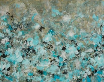 large Encaustic Painting  Abstract landscape painting Turquoise wild flowers painting Playful Days 24x36 Swalla Studio
