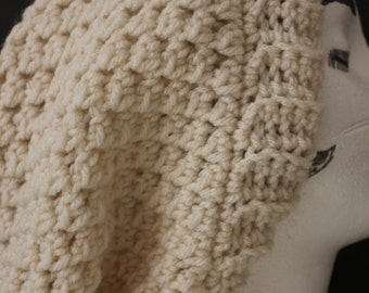 "Knitted ""Cream/Off White"" Beanie,  Slouchy Head Accessory,  Boho-chic ***FREE SHIPPING (USA address only)  ***"