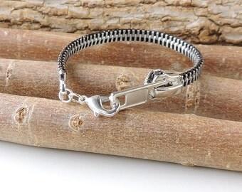 Black Zipper Bracelet, Black and Silver Zipper with Lobster Clasp, Zip Bracelet, Zip Jewellery, Zipper Jewelry, Upcycled Jewellery, UK, 714