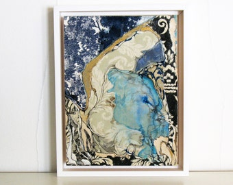 Small framed original art, blue and gold watercolor ink painting, mixed media collage, Colonization: Wallpaper Lake
