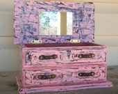 Vintage Shabby Chic Pink Jewelry Box with a Distressed Faux Finish