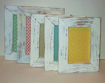 Set of 5 Shabby Chic Distressed Bright White Picture Frames for Gallery Wall, Wedding Decor, Nursery Decor