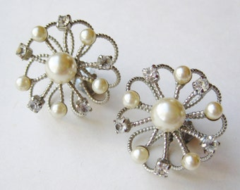 Vintage 50s Faux Pearl Rhinestone Silver Wire Orb Atomic Age Shoe Clips
