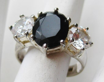 Vintage Sterling Silver Faux  Diamond Jeweled Onyx Cocktail Ring size 6 3/4