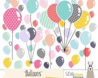 Balloon Clipart, Multiple Color Balloon Graphics, Helium Balloons, Instant Download, Commercial Use