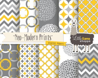 Mustard Yellow and Gray Digital Paper, Geometric Chevron Quatrefoil Floral Patterns, INSTANT DOWNLOAD, Commercial Use