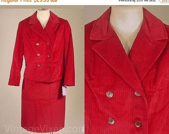 Cranberry Corduroy 1960s Suit by 'Country Junior' - Size 2/3 Bust 34.5 Waist 23.5 - XS - 21964