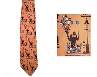 1930s Novelty Print Tie - Deco 30s 'Sunday in the Park' Scene Men's Necktie - Brown & Blue Silk Crepe - Beverly Hills Label - 32747