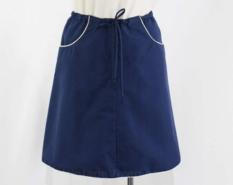 Size 10 Navy Skirt - 1960s Dark Blue Short Skirt - Large Size Sporty 1960s A-Line Casual - White Piping - Deadstock - Waist 31.5 - 24099-3