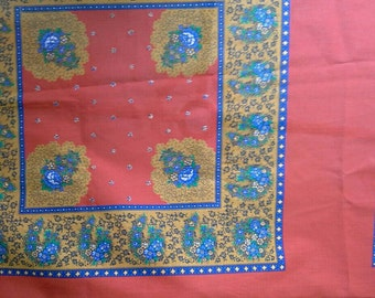 Orange, Blue and Gold Square Pattern Cotton Polyester Fabric Pillow Panels X0558
