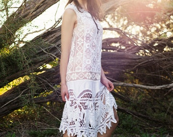 SAMPLE SALE - Vintage Gatsby Art Deco Flapper lace wedding dress