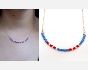 American flag beads necklace,  delicate necklace, beaded necklace ,gold filled, short necklace, small necklace, red white and blue