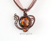 OOAK Brown teapot wire wrapped pendant
