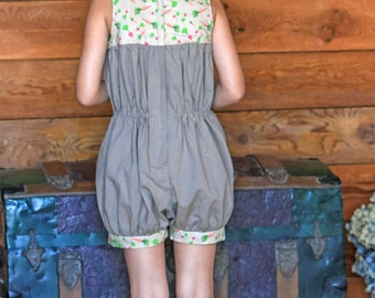 Little Girl's Organic Cotton Brown Romper with Beet and Carrot Pattern -- Sizes: 2t, 4t, 6