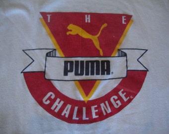 Vintage 80's The PUMA Challenge workout marathon rap hip hop wjlb fm 98 radio station soft thin T Shirt L