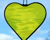 Stained Glass hanging ornament (Love Heart) in bright yellow rippling water glass