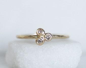 Diamond Cluster Stacking Ring - Gold Botanical Stacking Ring - Thin Gold Stacking Ring