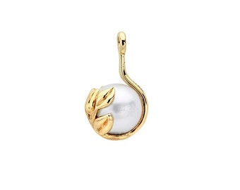 14K Yellow Gold Leaves Component Mounting with Pearl Peg