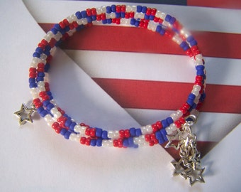 Fourth of July Bracelet Red White and Blue