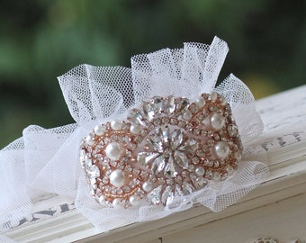 Rose Gold Beaded Bridal Cuff, Rose Gold Crystal and Pearl Wedding Cuff Bracelet, Tulle and Crystal Bracelet, Wedding Headband, COLLETTE