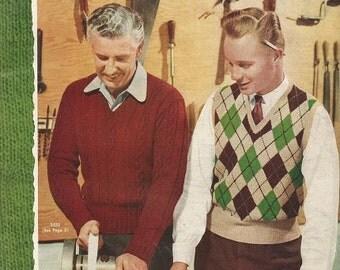 Vintage 1953  Fleisher's Hand Knits For Men Book