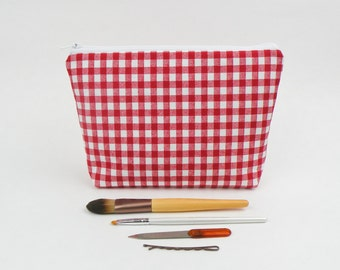 Red Gingham Makeup Bag, Large Pencil Case, Pencil Bag, Pencil Cases, Makeup Bags, Cosmetic Bag, Travel Pouch, Valentines Gift for Women