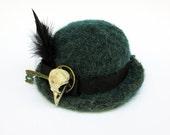 ooak STEAMPUNK turquoise raven skull mini bowler hat