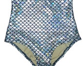 Silver Mermaid High-Waist Swim Bottom