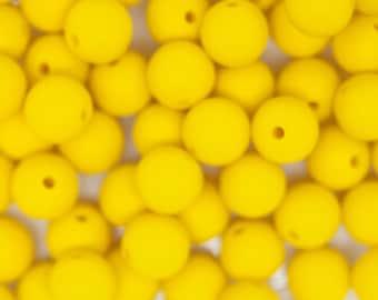Yellow 13mm Round Silicone Teething Necklace Beads, Set of 10 BPA Free Nursing Beads