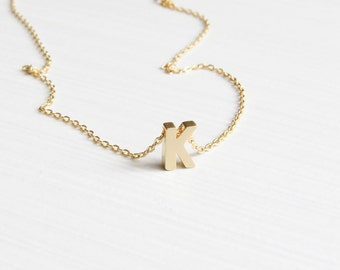 Personalized Necklace. Gold Initial Necklace. Initial Necklace. Personalized Jewelry. Bridesmaids Jewelry. Gift for Her