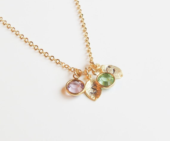 Birthstone & Initial Necklace Leaf Necklace