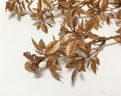 Artificial GOLD Tea Leaf Stems - 3 Pieces, Plastic Artificial Flowers, Flower Crown. Christmas, Wedding